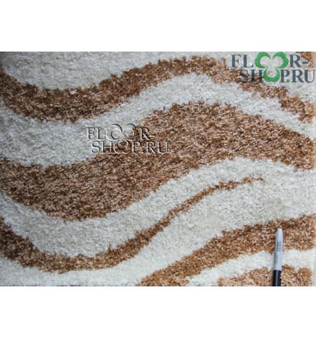 Фризе Бежево-коричневый волна